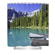 Canoes In Moraine Lake And Valley Of Shower Curtain