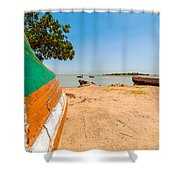 Canoes On A Lakeshore Shower Curtain