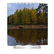 Canoes On The Shore At Loch An Eilein Shower Curtain