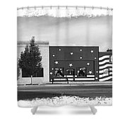 Canon City Facades - Black And White Edge Burn Shower Curtain