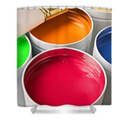 Cans Of Colored Paint Shower Curtain