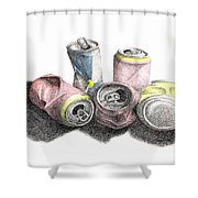 Cans Sketch Shower Curtain