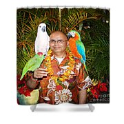 Can't Get Brighter Than This  Artist Navinjoshi In Hawaii Travel Vacations With Trained Parrots By P Shower Curtain