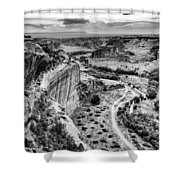 Canyon De Chelly Navajo Nation Chinle Arizona Black And White Shower Curtain
