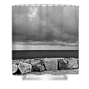 Caorle Dream Black And White Shower Curtain