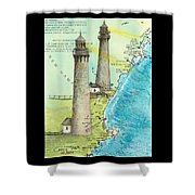 Cape Ann Twin Lighthouses Ma Nautical Chart Map Art Cathy Peek Shower Curtain
