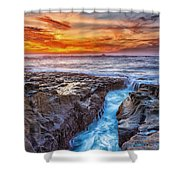 Cape Arago Crevasse Hdr Shower Curtain