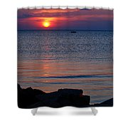 Cape Charles Rocky Sunset  Shower Curtain