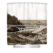 Cape Creek Bridge And Heceta Oregon Head Lighthouse  Circa1933 Shower Curtain