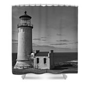 Cape Disappointment Oregon B/w Shower Curtain