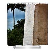 cape Florida light door Shower Curtain