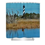 Cape Hatteras Lighthouse Deer In Pond 1 3/01 Shower Curtain