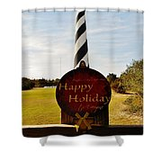 Cape Hatteras Lighthouse Happy Holiday 1 12/7 Shower Curtain
