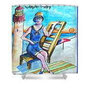 Cape May Illustration Poster Shower Curtain