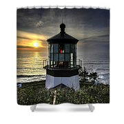 Cape Meares Lighthouse At Sunset Shower Curtain