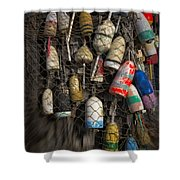 Cape Neddick Lobster Buoys Shower Curtain