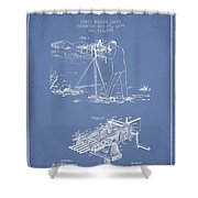 Capps Machine Gun Patent Drawing From 1899 - Light Blue Shower Curtain