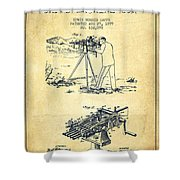 Capps Machine Gun Patent Drawing From 1899 - Vintage Shower Curtain