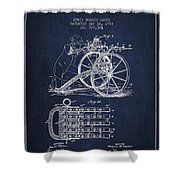 Capps Machine Gun Patent Drawing From 1902 - Navy Blue Shower Curtain