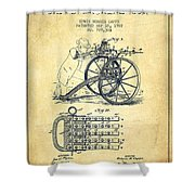Capps Machine Gun Patent Drawing From 1902 - Vintage Shower Curtain