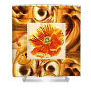 Cappuccino Abstract Collage Poppy Shower Curtain