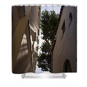 Capri - The Mediterranean Sun Painting Playful Shadows On Facades Shower Curtain