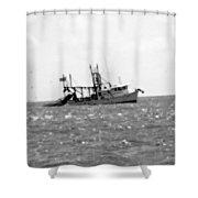 Capt. Jamie - Shrimp Boat - Bw 01 Shower Curtain