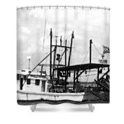 Capt. Jamie - Shrimp Boat - Bw 02 Shower Curtain