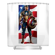 Captain America In Front Of Old Glory Shower Curtain