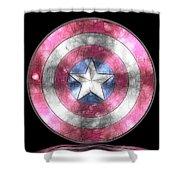 Captain America Shield Digital Painting Shower Curtain
