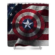 Captain America Shield On Usa Flag Shower Curtain