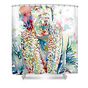 Captain Beefheart Watercolor Portrait.2 Shower Curtain by Fabrizio Cassetta