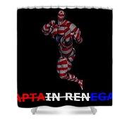 Captain Renegade Super Hero Jumping Karate Kick Shower Curtain