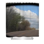 Car Mirror Landscape With Road And Sky. Shower Curtain
