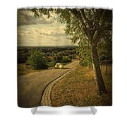 Car On Road Shower Curtain by Carlos Caetano