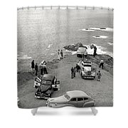 Car Over Edge On Highway One  Big Sur  California    March 27 1947 Shower Curtain