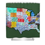 Car Tag Number Plate Art Usa On Green Shower Curtain