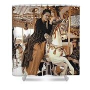 Caramel Carousel Shower Curtain
