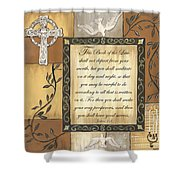Caramel Scripture Shower Curtain by Debbie DeWitt