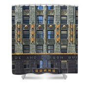 Carbide And Carbon Building Shower Curtain by Adam Romanowicz