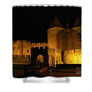 Carcassonne At Night Shower Curtain by France  Art