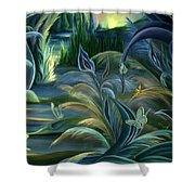 Card Design For Insects Of Enchanted Stream Shower Curtain