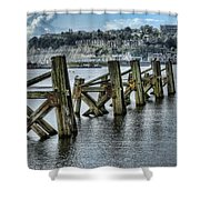 Cardiff Bay Old Jetty Supports Shower Curtain