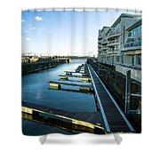 Cardiff Bay Pontoons Shower Curtain