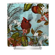 Cardinal And Apples Shower Curtain