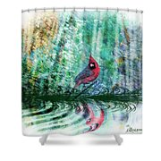Cardinal - Featured In Comfortable Art-wildlife-and Nature Wildlife Groups Shower Curtain