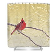 Cardinal In Gold Leaf Shower Curtain