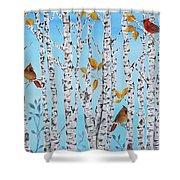 Cardinals Among The Birch-jp2061 Shower Curtain