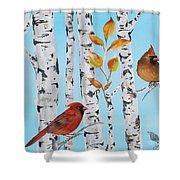 Cardinals Among The Birch-d Shower Curtain