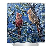 Cardinals And Holly Shower Curtain